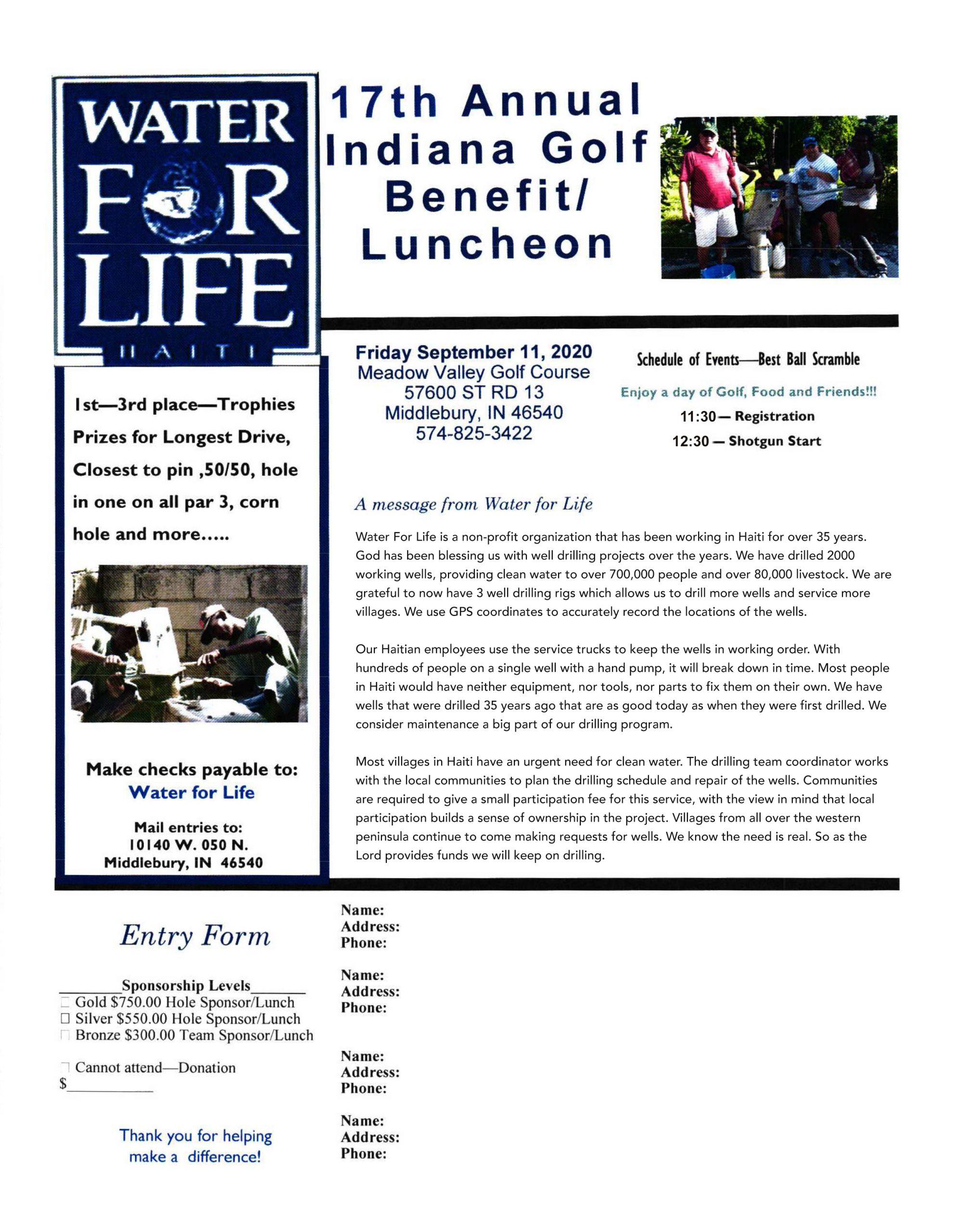 golfer fundraiser Haiti